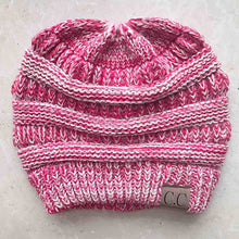 Load image into Gallery viewer, 2018 Winter Women Hat Ladies Girl Stretch Knit Hat Messy Beautiful Bun Ponytail Beanie Holey Warm Hats Caps