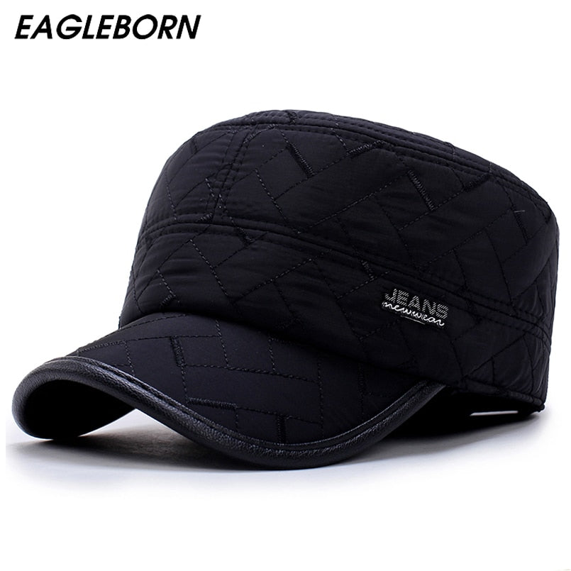 83f6dbf4983 2018 Winter men cap warm hat military caps with ear flaps russia flat top  caps for men casquette Drop shipping