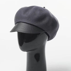 2018 Women Fashion Casual Woolen Felt Military Hat with Leather Board Black Warm Winter Proof Leather Plater Wo Cap Good Quali