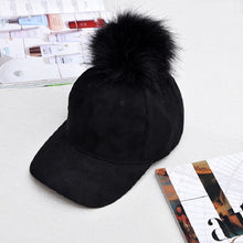 Load image into Gallery viewer, 2018 Women Faux Fox Fur Pompom Baseball Cap Ball Suede Snapback Adjustable Caps Hip Hop Hat Gorros para el s gorras casquette