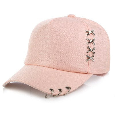 2018 brand Fashion Unisex hip hop cap Snapback Hats Solid Color Iron Ring Decor Cotton Hats Women Kpop Simple Baseball Caps
