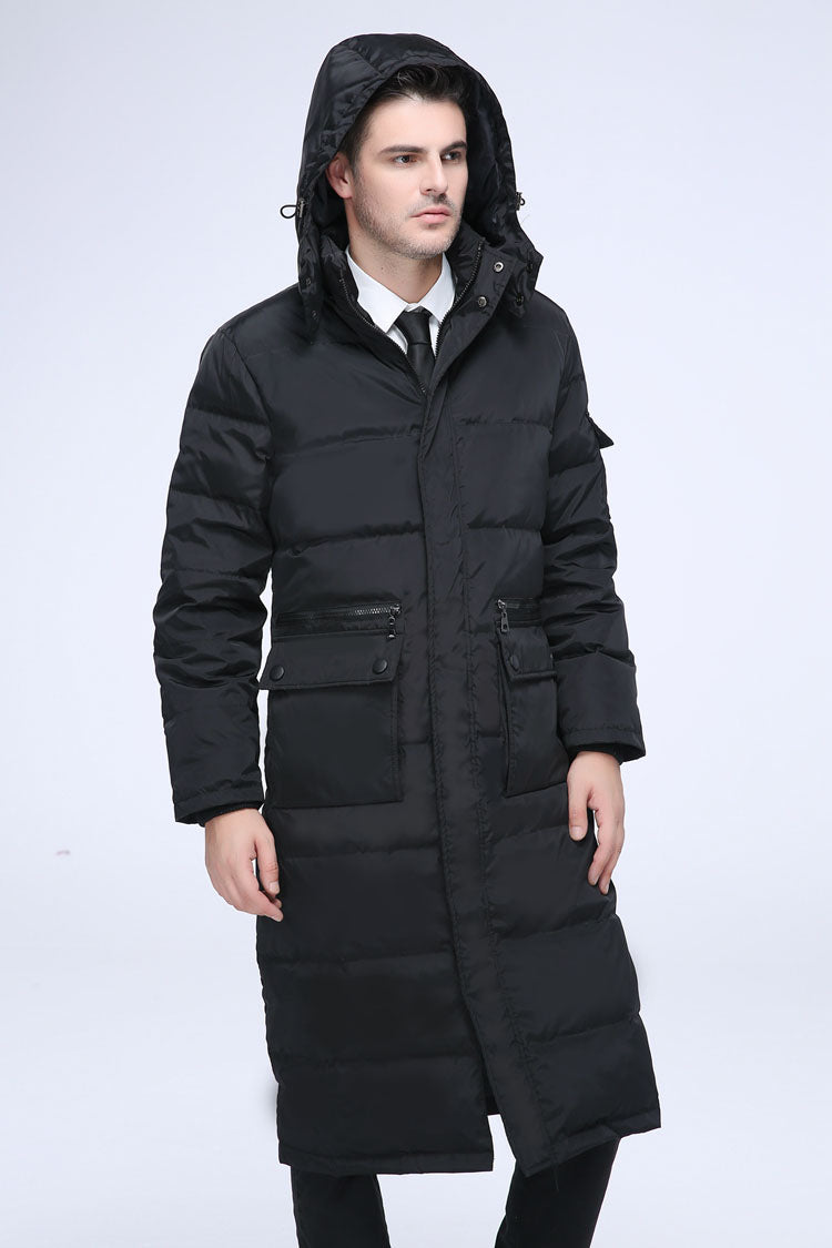 a8a3be2284a 2018 men's winter clothing fashion duck down coat long puffer jacket parkas  for male with a hood black plus size xxxxl 3xl 4xl
