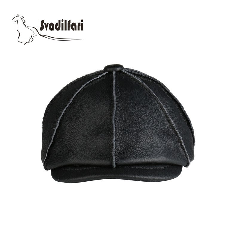 2018 new fashion real leather Military cap Adjustable Two Color Black Brown Warm Winter octagonal hat for man Gift