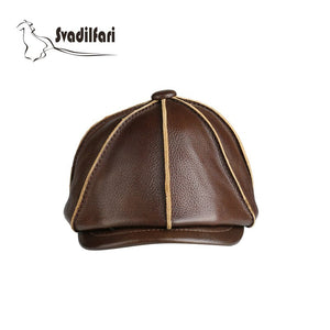 2020 new fashion real leather Military cap Adjustable Two Color Black Brown Warm Winter octagonal hat for man Gift