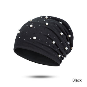 2020 Fashion Solid Color Pearl Women Skullies Beanies Winter Women's Hat Female Beanie Soft Bonnet Warm Cotton A Cap Drophipping
