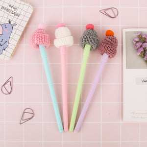 20pcs/lot  Cute stocking hat with red bobble gel pen 0.5mm ballpoint Black color ink pen Stationery Office Scho supplie
