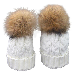 2pcs Mom And Daughter Matching Knitted Beanie Cap Winter Faux Fur Hats Gorro Chapeu Amazing Drop Shipping Wholesale
