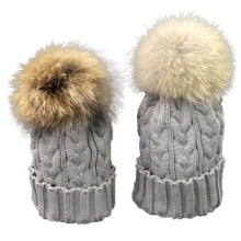 Load image into Gallery viewer, 2pcs Mom And Daughter Matching Knitted Beanie Cap Winter Faux Fur Hats Gorro Chapeu Amazing Drop Shipping Wholesale