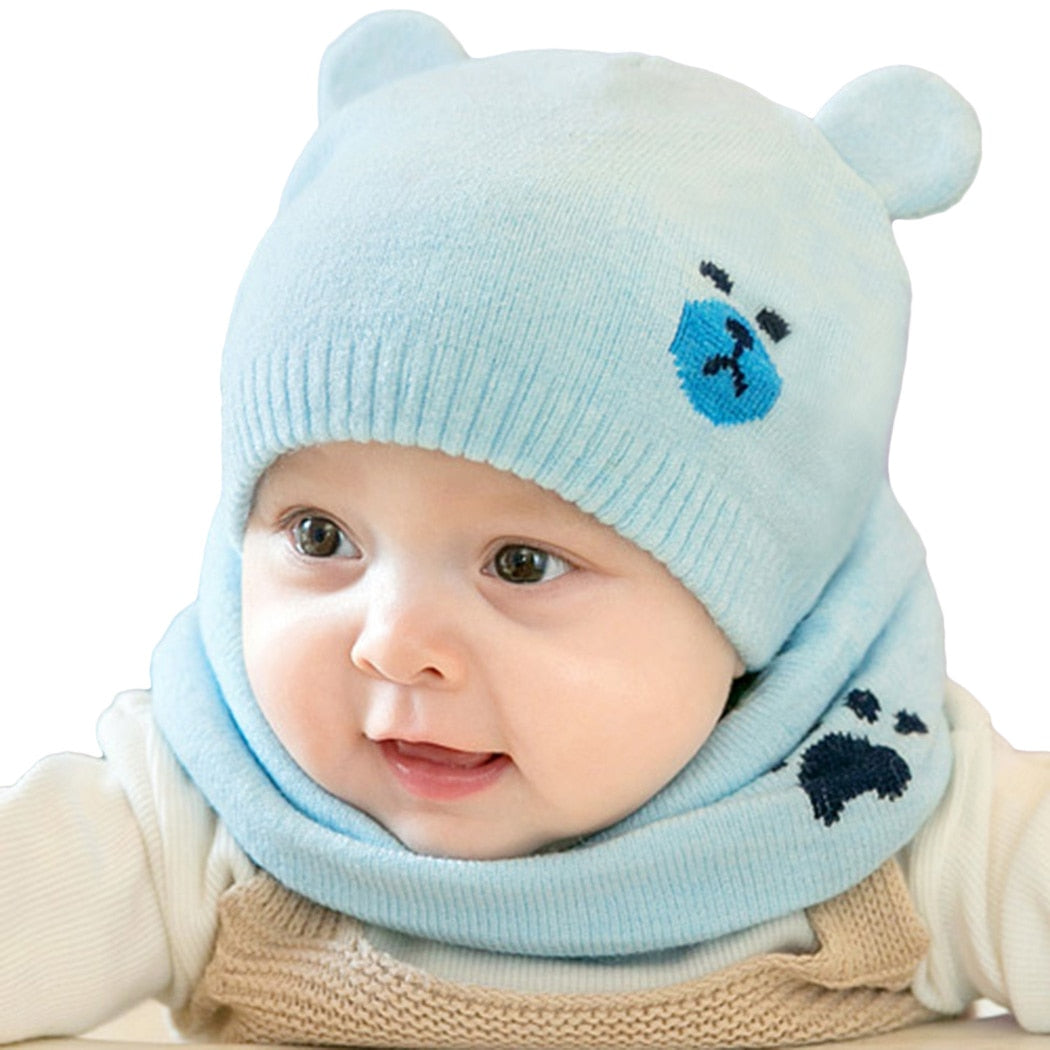 2pcs Set Knitted Warm Bear Round Machine Cap For Kids Newborn Hats Protects  Ear Bonnet Kids Winter Caps + Scarf Beanies 9a3ed3b7a78
