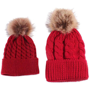 2pcs Winter Mom And Daughter Matching Knitted Beanie Cap Keep Warm Faux Fur Hats Gorro Chapeu Amazing Sep
