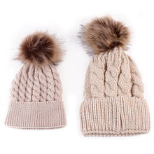 Load image into Gallery viewer, 2pcs Winter Mom And Daughter Matching Knitted Beanie Cap Keep Warm Faux Fur Hats Gorro Chapeu Amazing Sep