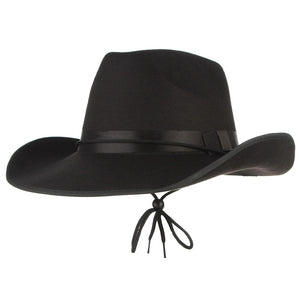 4 Colors Vintage Western Cowboy Hats For Men Wide Brim Sun Visor Cap Sombreros Autu Winter Felt Hat Male Cowboy Caps