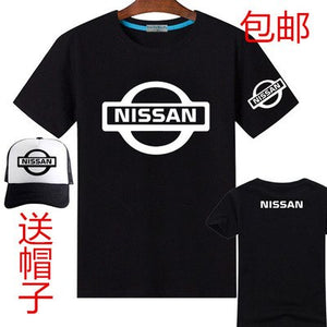 4S shop printing short-sleeved nissan T-shirt female men's T shirt include baseball cap hats