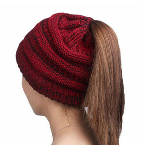 5 Colors women warm hat Trendy Warm winter Solid knitted Bun Chunky Soft Slouchy Beanie High bun Ponytail Stretchy hat feminino