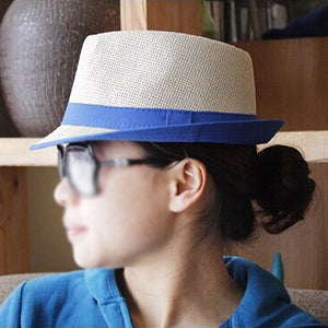 5x Blue Brim Exquisite Candy Color Belt Decorated Simply Designed Sun Hat For Men and Women