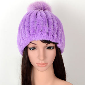 6456 New Fashion Trendy Rex Rabbit Fur Hat Fur Ball Real Rabbit Fur casual Warm Winter Hat Ladies Skullies & Beanies