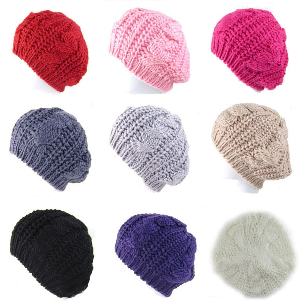 8 Colors 2017 Women's Winter Warm Knitted Wo Hat Boy Girl Red Cable Knit Crochet Hat  Gray Braided Baggy Beret Beanie Cap