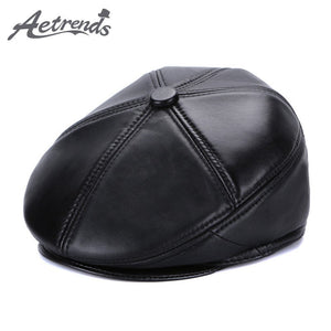 12b6af7b [AETRENDS] 2017 New Winter 100% Genuine Leather Beret Hats for Men Bone  Black Leather Men's Berets Z-5495
