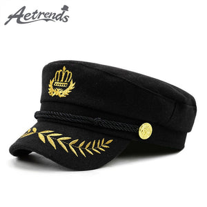 4fc303fc [AETRENDS] 2018 New Warm Woolen Military Cap Men Women Casual Army Caps  Flat Top