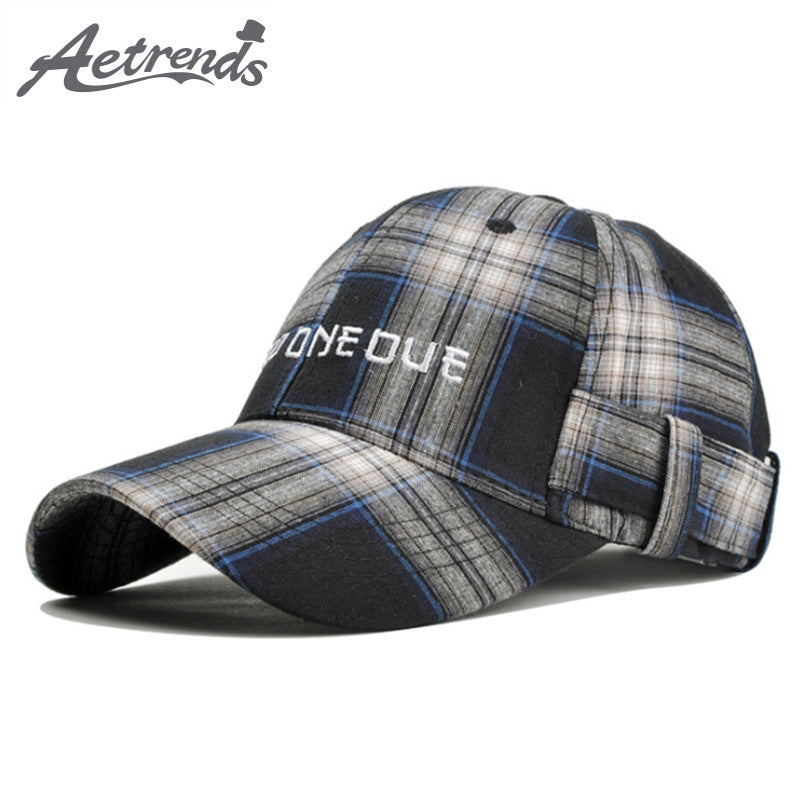 AETRENDS  Black White Plaid Fitted Cap Men Baseball Cap with Logo Custom  Hat Outdoor Sports a Polo Hats Bike Motocross Z-6452 f6c484ec2e8