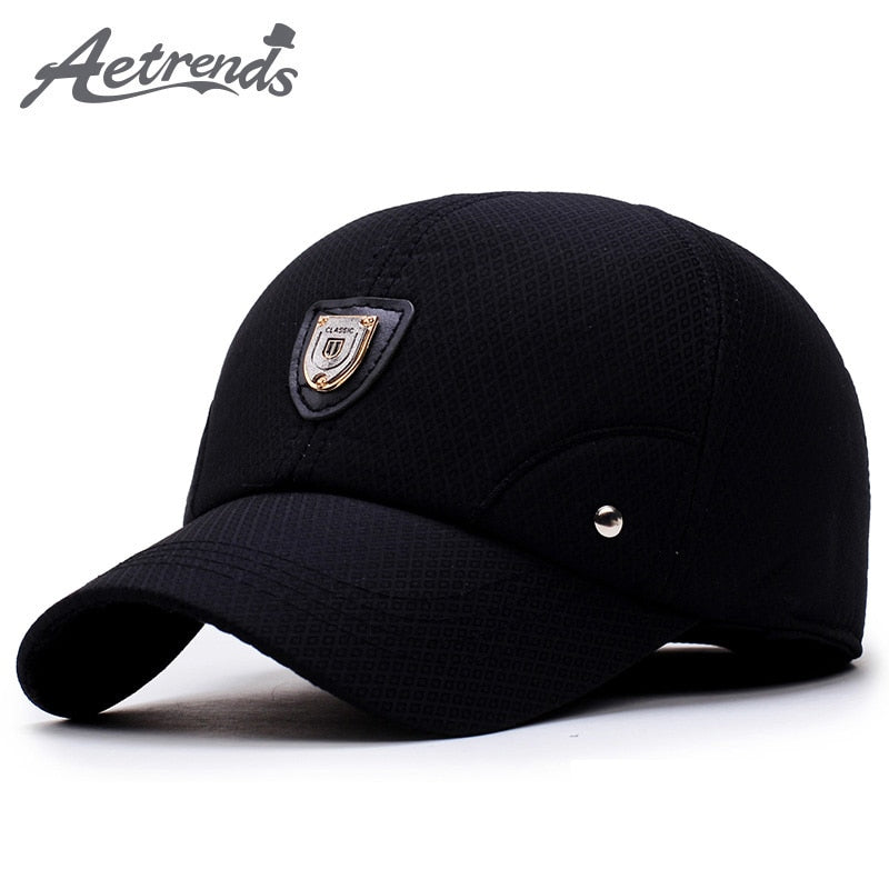 [AETRENDS] Winter Dad Hat Men Baseball Cap with Ears Protection 2020 Black Custom Logo Branded Baseball Caps Gorras Z-5924