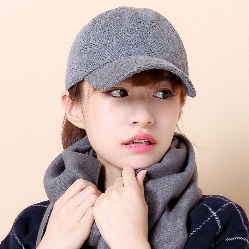 [AETRENDS] Winter baseball cap for women brand cap embossed pattern keep warm full solid basketball hats gorras mujer Z-3895