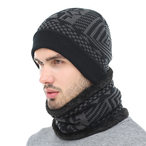 2018 Skullies Beanies Winter Knitted Hat Beanie Scarf Men Winter ... 5c51bc4522b