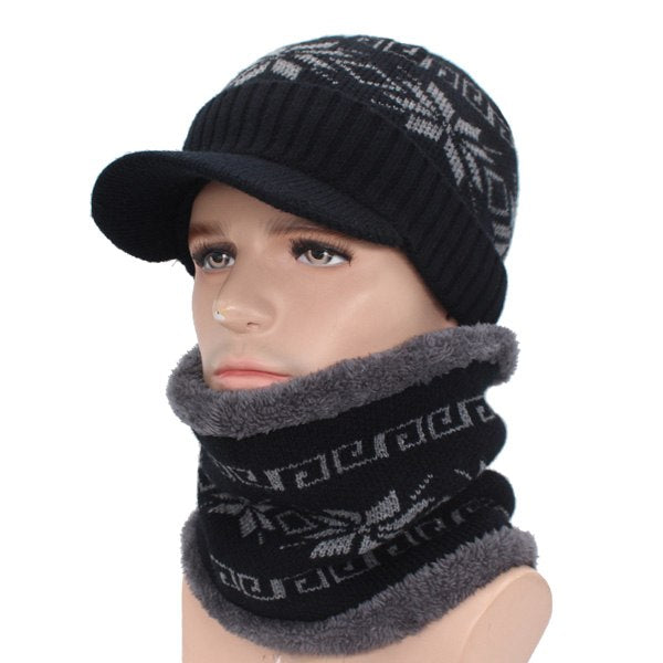 Skullies Beanies Men Knitted Hat Scarf Winter Hats For Women Male ... 1ed741d2990