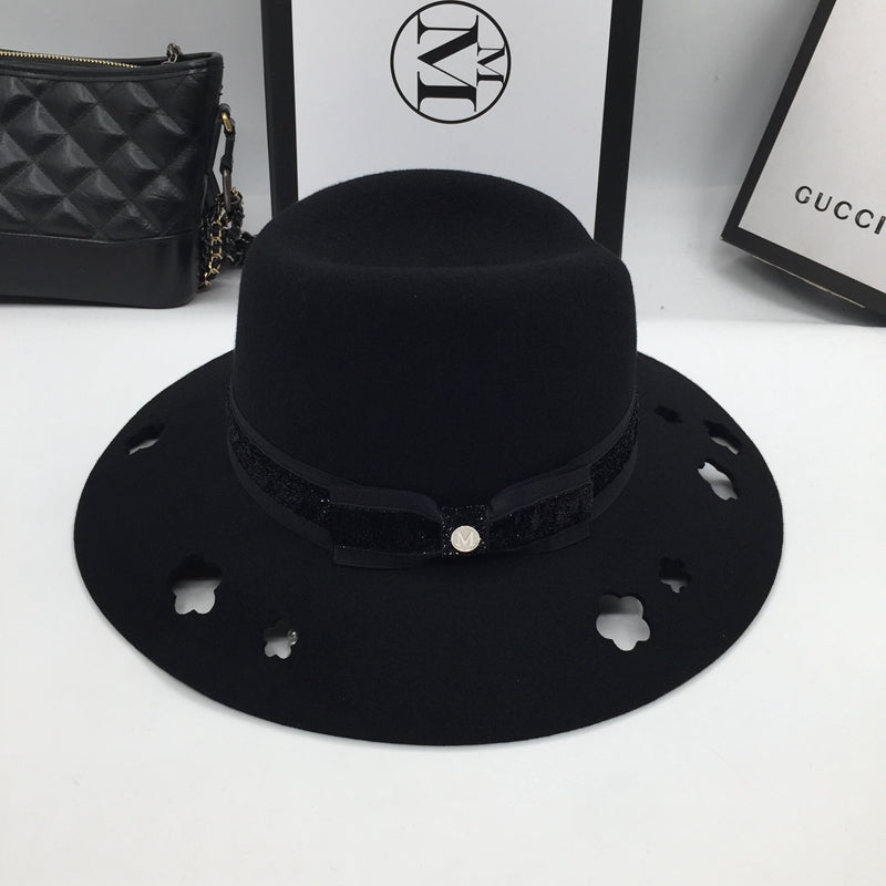 About the new wo wide-brim hats female fashion black hollow out abnormity wo hat joker fedoras cloche hat