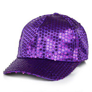 Adjustable Children's Dance Party Sparkly Sequin Panel Baseball Cap Ball Hats Gold Red Blue Pink Black