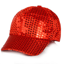 Load image into Gallery viewer, Adjustable Children's Dance Party Sparkly Sequin Panel Baseball Cap Ball Hats Gold Red Blue Pink Black