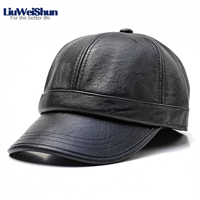 Adjustable Classic PU Leather 3 Solid Color Baseball Cap 2020 Winter Black Coffee Men Faux Leather Dad Trucker Hat With Earflap