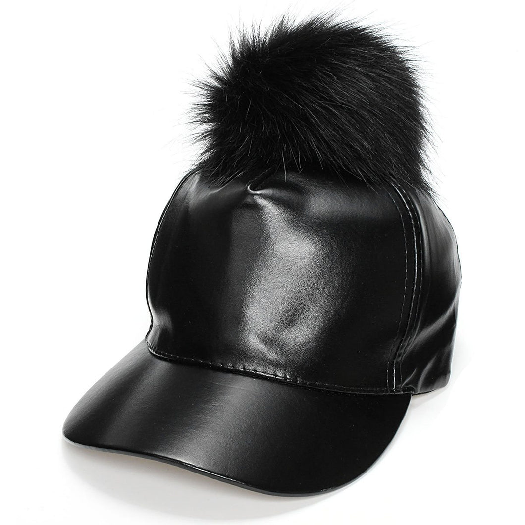 Adjustable Snapback Baseball Cap Fur Pompom Hat PU Leather Black Hip Hop Caps with Furry Ball Winter Women Girls Solid Sun Cap