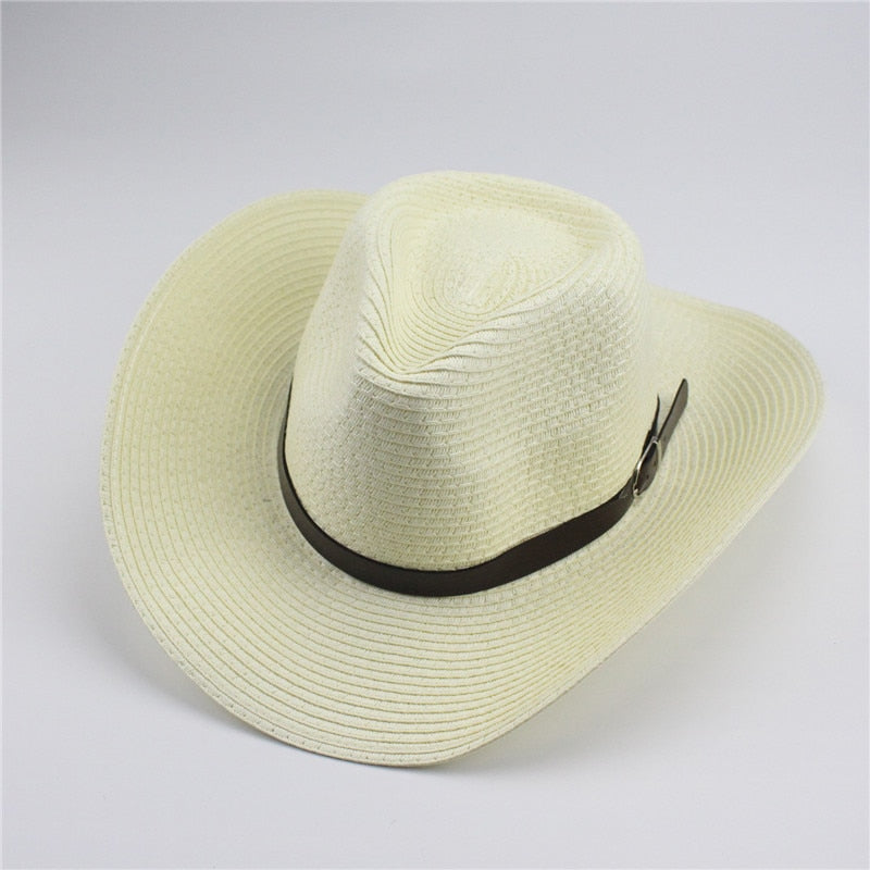 9b6637464 Adult And Children Classic Cattleman Straw Cowboy Hat White Beige Khaki  Brown Colors For Man Woman