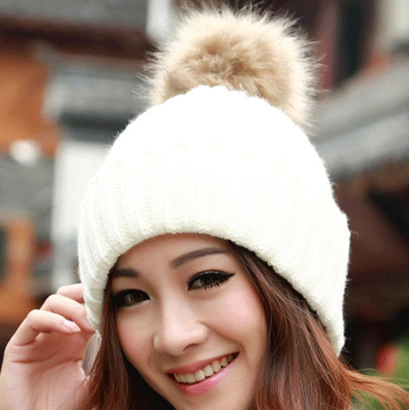 Amazing Fashion  Women Winter Fur Ball Warm Hat Crochet Knitted Wo Cap Free Shipping HOT Sales winter hats for women
