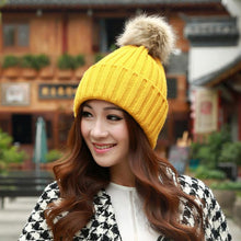 Load image into Gallery viewer, Amazing Fashion  Women Winter Fur Ball Warm Hat Crochet Knitted Wo Cap Free Shipping HOT Sales winter hats for women