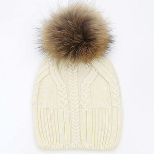 Amazing!!! Natural Big Fur Pom Pom Winter Hats For Women Thick 100% Wo Female Beanies 8 Colors Girls Gorros Cap Sweater  Hats