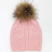 Load image into Gallery viewer, Amazing!!! Natural Big Fur Pom Pom Winter Hats For Women Thick 100% Wo Female Beanies 8 Colors Girls Gorros Cap Sweater  Hats