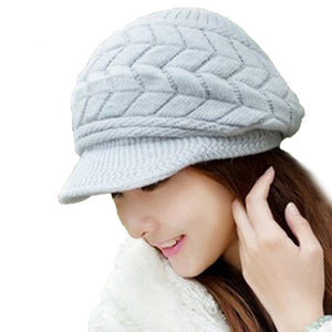 Amazing New Thick Winter Women Knitting With Loose Cap Warm Cap Hat Gray Moodeosa