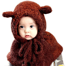 Load image into Gallery viewer, Amazing Plush Wo Bear Hats Girls Baby Shawls Hooded Cowl Beanie Caps Lanlee Winter Girls Boys Warm Scarf Bib Caps Cloak Hats