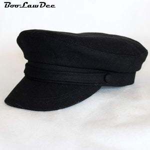 c2c63fd722c American style woolen navy military cap wo student hat 55 57 59 61cm sailor  hats for