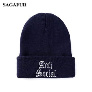 Anti-Social Embroidery Winter Knitted Hat For Girls Boys Casual Plain Black  Men Caps Women s 33cd8fb4538