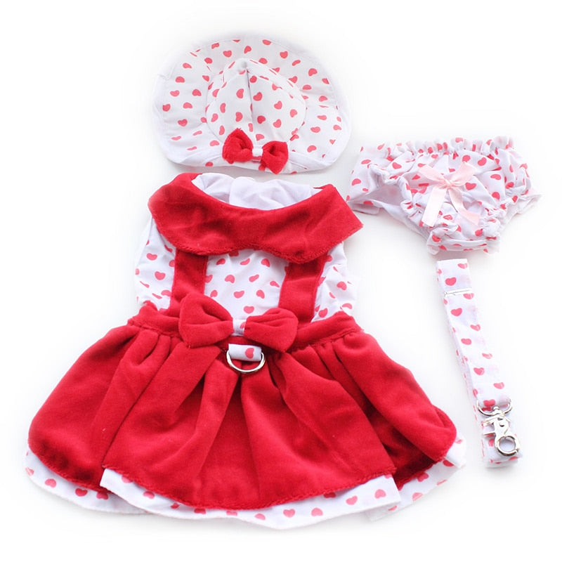 store Heart Shape Dog Dresses Fashion Dogs Princess Dress 6071080 Pet Clothing Supplies ( Dress+Hat+Panties Leash = 1 set