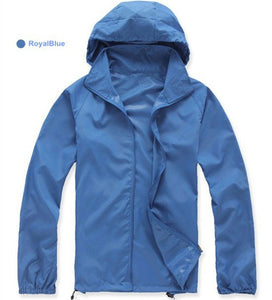 Men Women Quick Dry Hiking Jackets Hat Can Be Stored Waterproof Sun Protection Outdoor Sports Skin Coats Female JW004