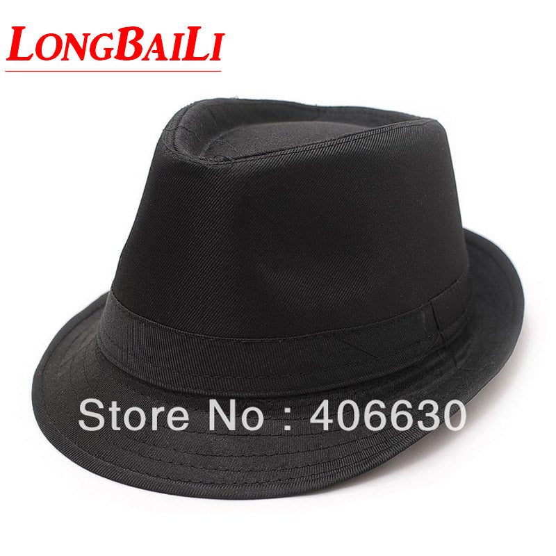 Autumn Black Cotton Blend Fedora Hats For Men Chapeu Trilby Jazz Caps Michael Jackson Hat Free Shipping MEDB023
