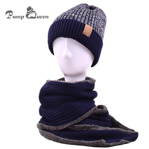 f7ed4102de3 Autu Winter Hat Plus Velvet Thick Knitted Wo Hat Scarf Set Warm Beanie  Fashion Snow Earflaps