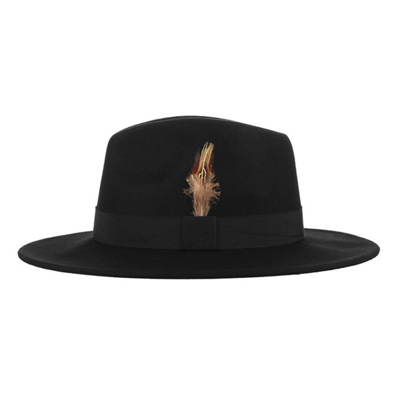 Autumn Winter Men Fedora Hat British Style Wo With Feather decoration Chruch Hat Black Bowler Hat And Cap