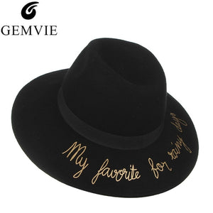 9ed82d5287a Autu Winter Vintage Wo Fedoras For Women Letter Wide Brim Church Caps  Breathable Top Hat Female Panama Hat