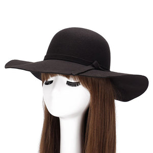 Autumn Winter Wide Brim Women ladies Wo Felt hat trilby Fedoras Princess Hats bowler hat chapeau for female GH-45