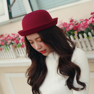 Autu Winter Women Fedoras Imitation Wo Round Bowler Caps Solid Retro Basin Felt  Hat Lady Cot Hat Chapeau For Party YG608 20e5f0ed208a